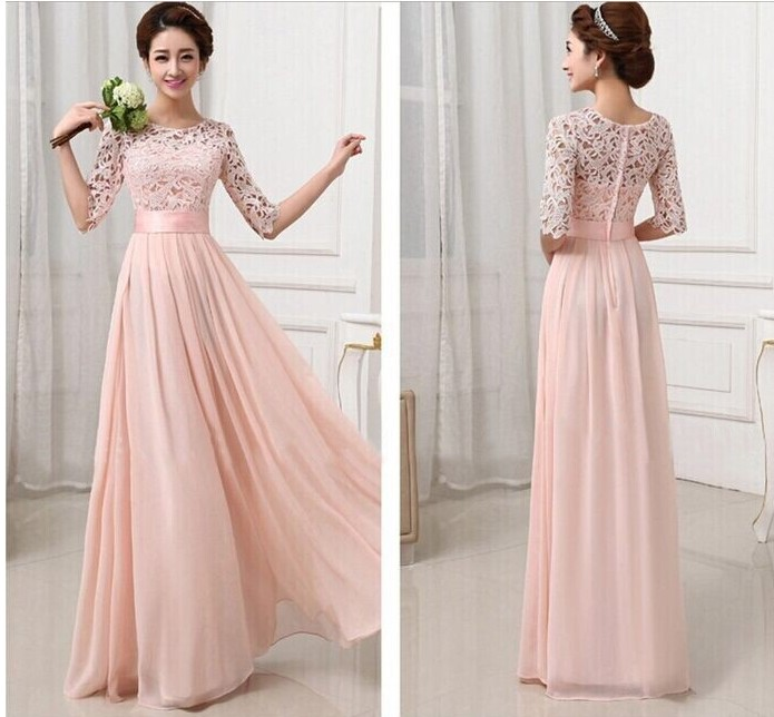 Brand Formal Gown Pink White Lace Chiffon Long Evening Dress Half Sleeve Elegant Women Prom Maxi Vestidos S-XXL - Angel Wedding Co., Ltd store