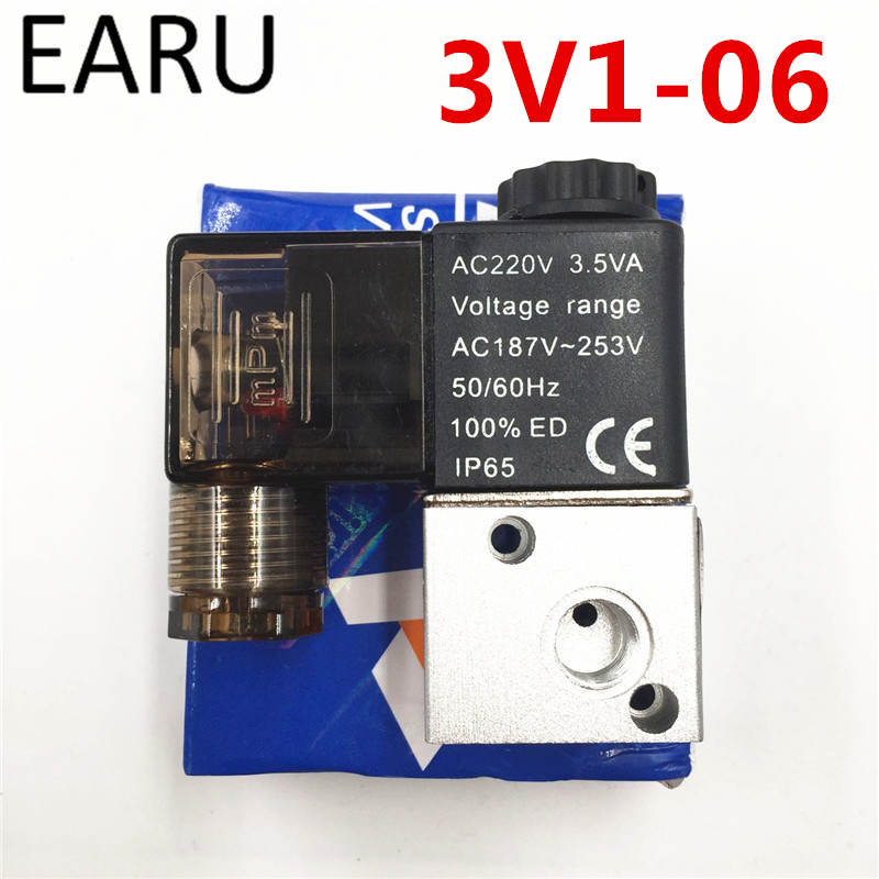 1Pc 3V1-06 2 Position 3 Way Pneumatic Solenoid Valve Port 1/8 Normally Closed Pneumatic Control Valve DC 12V 24V AC 110V 220V 3 8 pneumatic one way design air flow control valve re 03