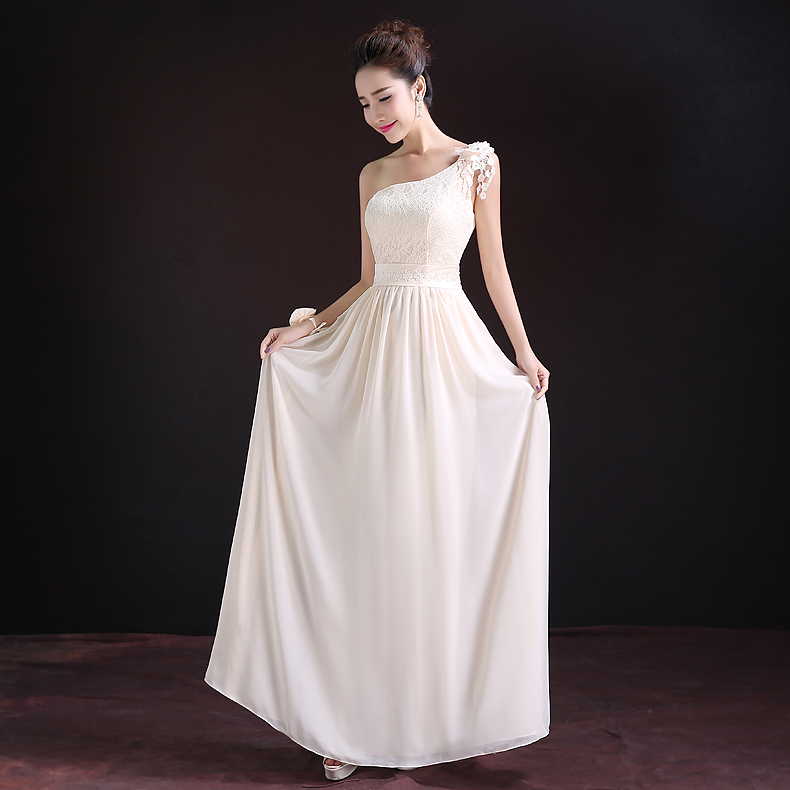 2017 new   Bridesmaid     Dresses   plus size stock cheap under $50 sexy romantic sister simple elegant fashion long one shoulder flower