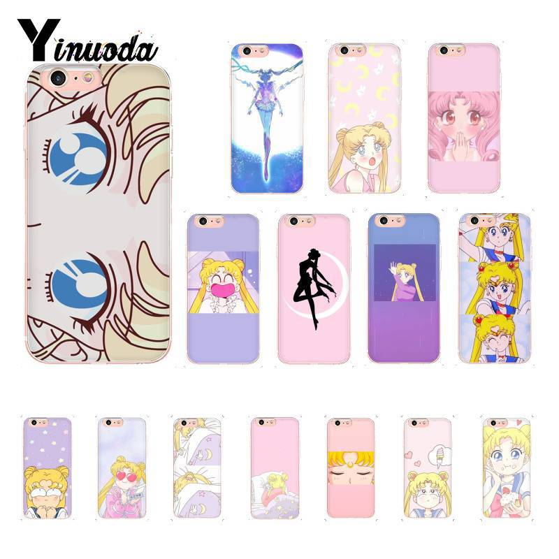 Yinuoda Pink Japanese Anime <font><b>Kawaii</b></font> Sailor Moon <font><b>Phone</b></font> <font><b>Case</b></font> for iPhoneX XSMAX 6 6s <font><b>7</b></font> 7plus 8 8Plus 5 5S SE XR 10 11 11pro 11promax image