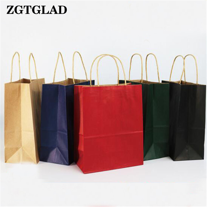 ZGTGLAD 1Pc Recyclable Coloured Kraft Paper Handles Bag Party Gift Paking Wedding Birthday Shopping Supplies