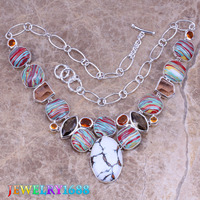Luxurious Multicolor Natural Stone 925 Sterling Silver Overlay High Quality Grade Fashion Jewelry Necklace L637