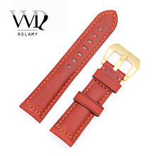 Rolamy 22 24mm Red Real Leather Handmade Replacement Thick Vintage Wrist Watch Band Strap With Gold Color Brushed Buckle