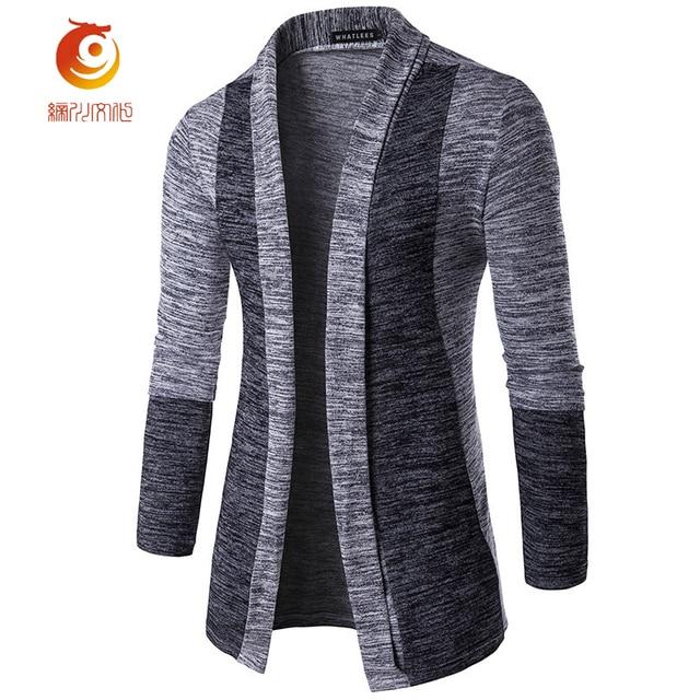 2017 Мода Мужская Sweatercoat Бренд Одежды Лоскутное Кардиган Трикотажные Sweatercoat Мужчины Тонкий Топ С Длинным Рукавом Плюс Размер Sweatercoat