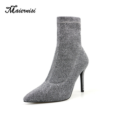 MAIERNISI Elastic Stretch Boots For Women Socks Shoes Ladies Sock Boots Mid-calf Botas Mujer Spring High Heels Boot Silver silla rulers new arrival knitting wool stylish boot for women camel black hollow round strange heels slim bota elastic sock boot