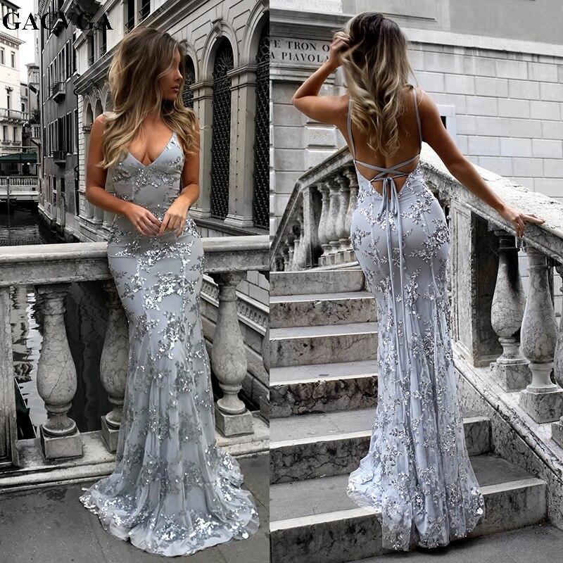 ba770d1734dd GACVGA 2019 sirena vestido Sexy cuello en V Correa lentejuelas vestido  femenino Longuette otoño ...