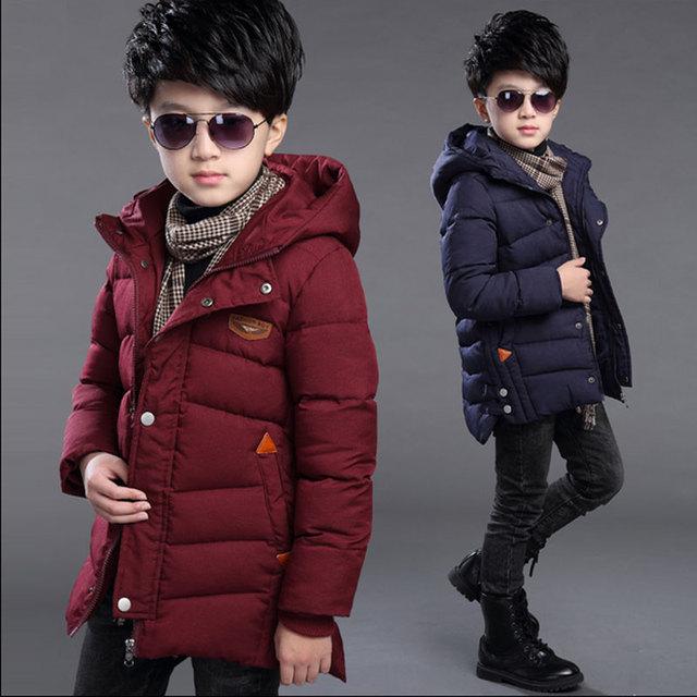 Adolescente niños 2016 invierno abajo parkas chaqueta de algodón acolchado para niños ropa para niños marca de diseño prendas de vestir exteriores gruesa abrigos