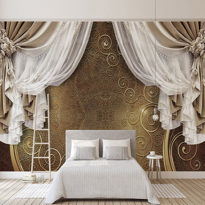 European Style 3D Stereo Curtain Lace Photo Murals Wallpaper Living Room Bedroom Luxury Background Wall Cloth Papel De Parede 3D