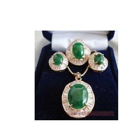 latest design Wholesale wonderful nice natural noble big green gem pendant earring yellow gold rings 6 9 # +Chain Women
