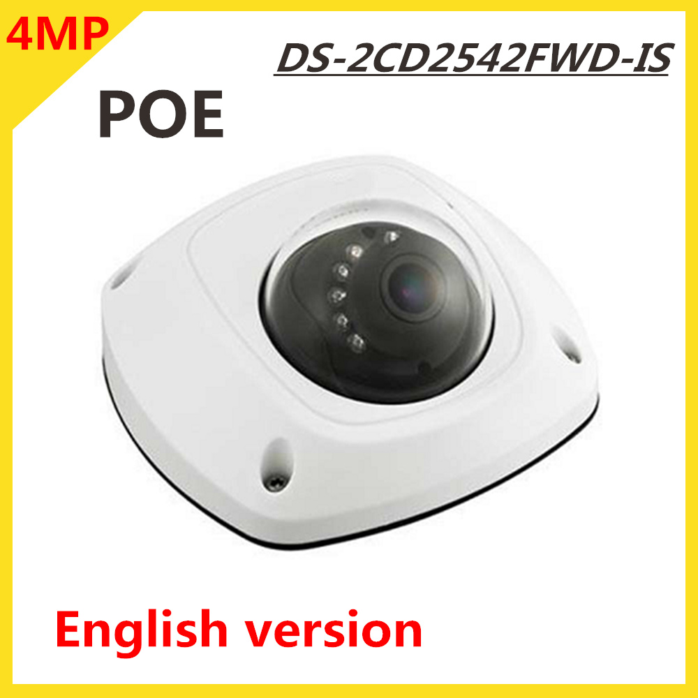 Original HK English version IP Camera DS-2CD2542FWD-IS 4MP Poe H.264 Digital WDR Built-in Micro Support SD card Max 128G ds 2cd4026fwd a english version 2mp ultra low light smart cctv ip camera poe auto back focus without lens h 264