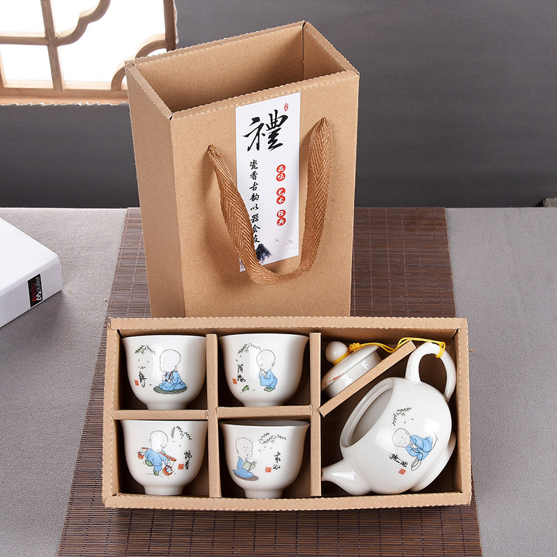 Free shipping Buddhist mood gift sets, chanyi traditional Chinese special gift travel tea set 5pcs in pack Flat mouth tea set