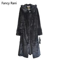 Русский Стиль 125 см реального норки пальто с капюшоном Х долго рекс шуба из натуральной норки пальто женский, черный пальто с меховым капюшо