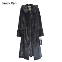 Russian Style 125cm Real Mink Fur Coat Hooded X Long Rex Fur Coat Genuine Natural Mink Fur Coat Women Black Coats With Fur Hood