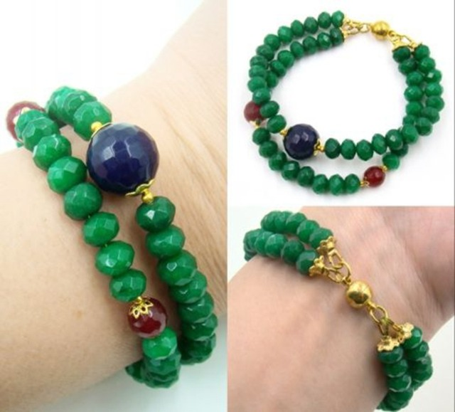 Lab-created Natural Stone Jewelry Classic Royal Emeralds with Sapphires and Rubies Beads  Bracelet for Women (length 21cm)