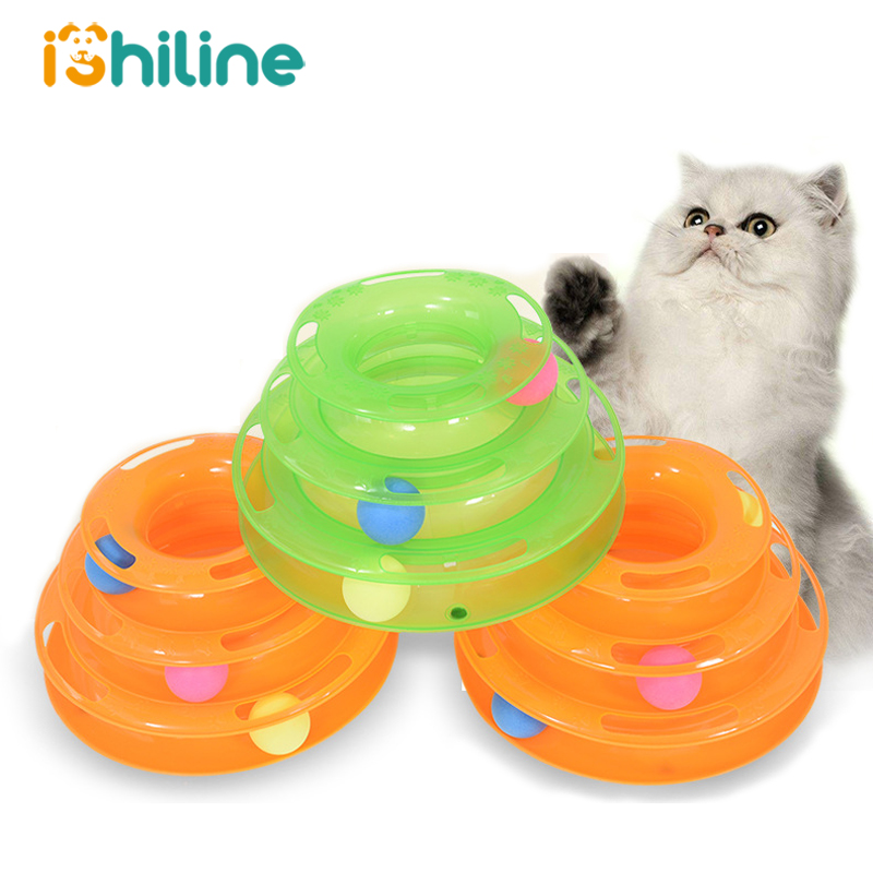 Three Levels pet cat toy Tower Tracks Disc cat Intelligence Amusement triple disc cat toys ball Training Amusement plate