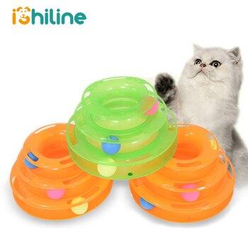 Üç seviye pet kedi oyuncak kule parçaları disk kedi zeka eğlence üçlü disk kedi oyuncak top eğitim eğlence plaka