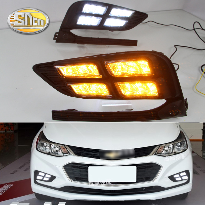 For Chevrolet Cruze 2017 2018,Yellow Signal Style Relay Waterproof Car DRL 12V LED Daytime Running Light Auto Bulb Daylight SNCN white yellow turning function abs cover 12v car drl led daytime running light daylight lamp for chevrolet cruze 2016 2017 drl