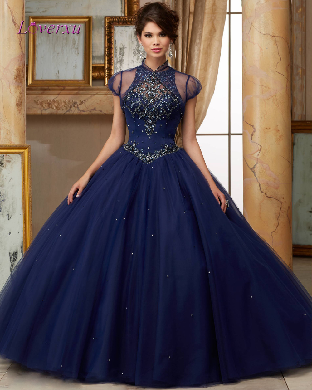 Blue Ball Gown With Sleeves - Missy Dress