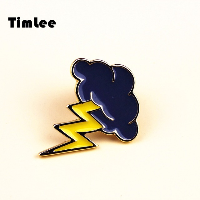Timlee X246 Cartoon  Lightning Dark Clouds   Metal Brooch Pins Gift Wholesale