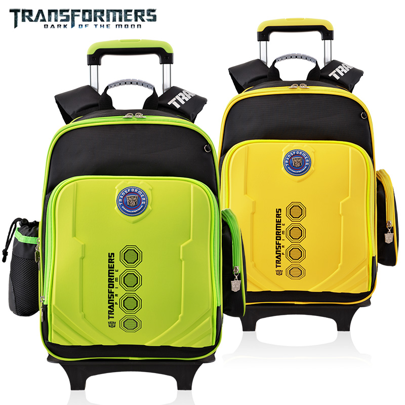155670208537 THE TRANSFORMERS cartoon trolley wheels school books children kids bag  rolling backpack detachable for boys grade class 3-6. Price