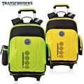 The transformers cartoon trolley/ruedas de la escuela/libros/niños/niños bolsa de rolling mochila desmontable para niños de grado/clase 3-6