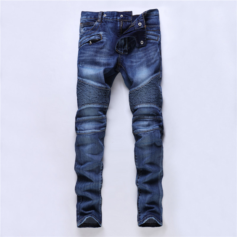 Pleated Biker Jeans Men Casual Distressed Denim Mens Jeans Brand Slim Fit Straight Male Jogger Pants Hipster Designer Trousers 2017 fashion patch jeans men slim straight denim jeans ripped trousers new famous brand biker jeans logo mens zipper jeans 604