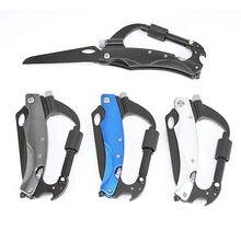 Multifunctional Outdoor Climbing Gear Folding Knife Hiking Survival Pocket Knife Multitool Rock Carabiner Glass Breaker Tools multifunction hiking carabiner w folding knife silver