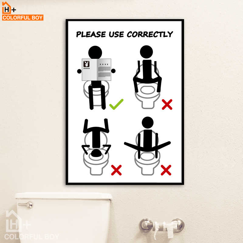 COLORFULBOY Toilet Manual Canvas Painting Wall Art Canvas Modern Posters And Prints Black White Wall Pictures For Bathroom Decor