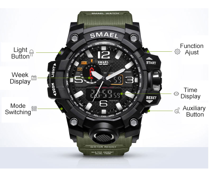 IsMyStore: SMAEL Brand Luxury Military Sports Watches Men Quartz Analog LED Digital Watch Man Waterproof Clock Dual Display Wristwatches