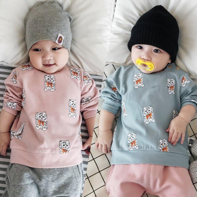 71137e41e Baby Girl T-shirt Cat Jacket Fall Winter Warm Coat Tees Casual ...