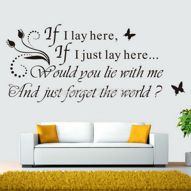 if i lay here quotes wall decal snow patrol chasing cars lyrics stickers for home decor - Home Decor Quotes