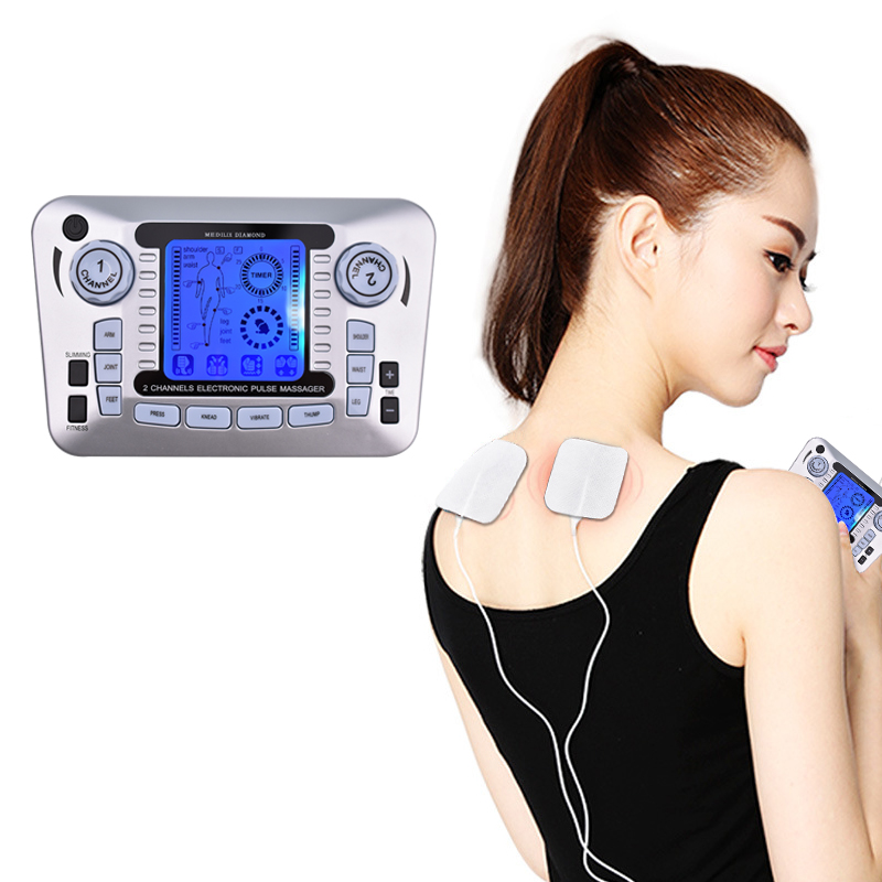 Dual-Output Full Body Massager Digital Therapy Machine Pulse Slimming Muscle Relax Massage Electric Pain Relief Acupuncture Slim electric stimulator full body relax muscle therapy massager pulse tens acupuncture foot neck back massage slimming slipper 8 pad
