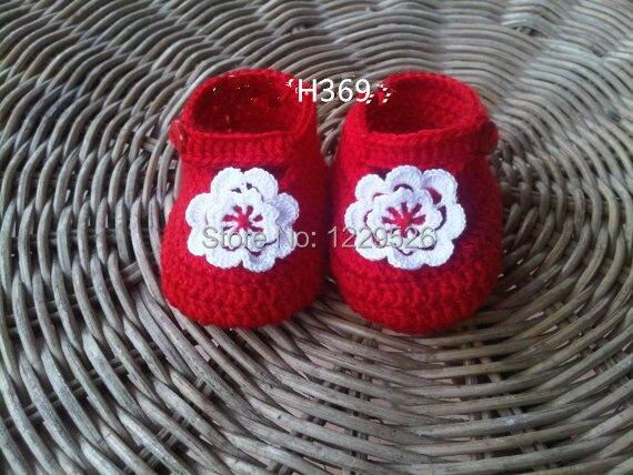 Крючком Обувь для младенцев пинетки/Шлёпанцы для женщин/красный/новорожденных