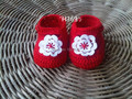 Crochet Baby Shoes / Booties / Slippers /  Red / Newborn
