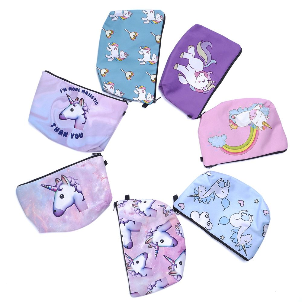 3D Unicorn Printing Cosmetic Bags Cute Emoji Organizer Women Makeup Necessaries for Travel Girls Storage Cases unicorn 3d printing fashion makeup bag maleta de maquiagem cosmetic bag necessaire bags organizer party neceser maquillaje