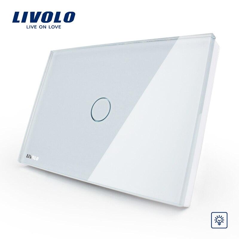 Livolo fabricante, Panel de cristal blanco interruptor de pared Dimmer, US/AU estándar, luz inicio 1 Gang 1 manera VL-C301D-81