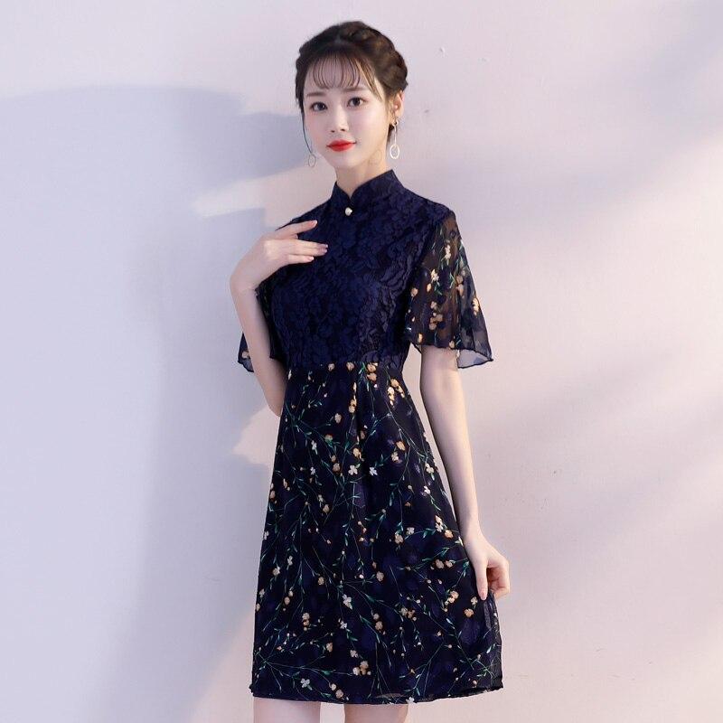 c82f0677a xxl Estilo Mini Chino Fiesta Rayón Mandarin Vestidos Collar Cheongsam Vestido  Mujer Qipao Corto 2019 Verano ...