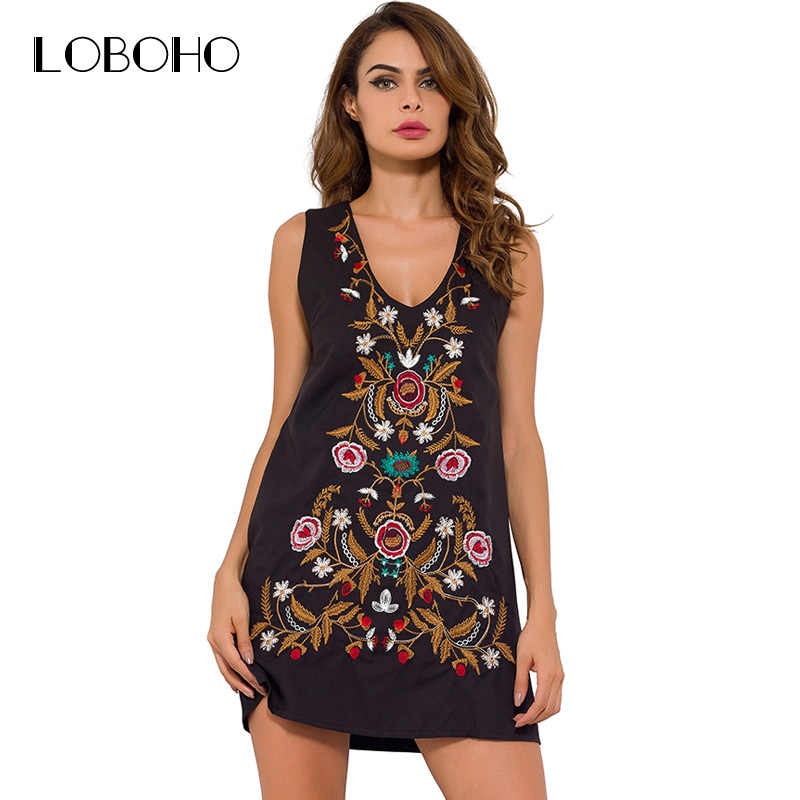 8df5741d872c Sleeveless Dress Women 2017 New Arrival Embroidery Floral Summer Dress  Vintage Fashion Casual Slim Woman Dresses