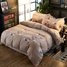 Simple bedding 3/4 piece set home textile mill wool fashion plant floral quilt cover Sheets aloe cotton comfortable