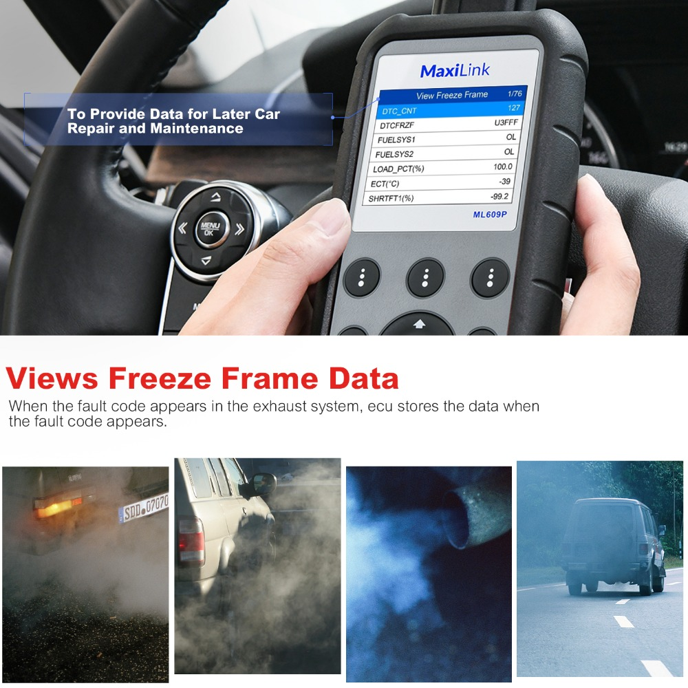 Image 3 - Autel MaxiLink ML609P Auto Diagnostic Tool Car Scanner Code Reader OBD2 Code Scan Tool View Freeze Frame Data Diagnostic tool-in Engine Analyzer from Automobiles & Motorcycles