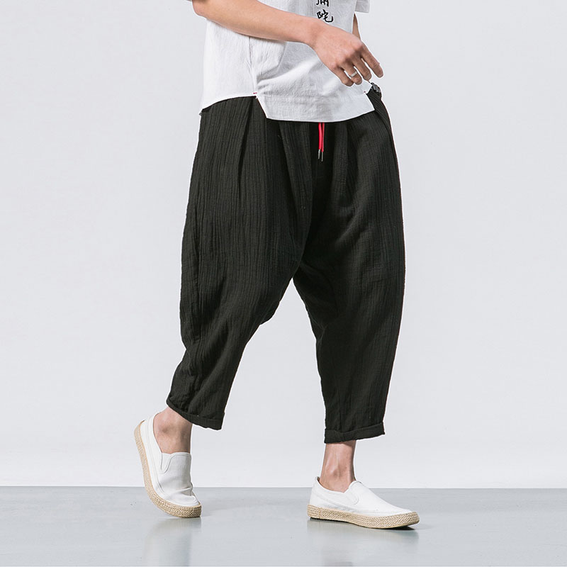 MRDONOO 2018 Spring New Cotton linen Calf Length Pants Harem Pants Chinese style Traditional Linen embroidered Trousers B375-K63