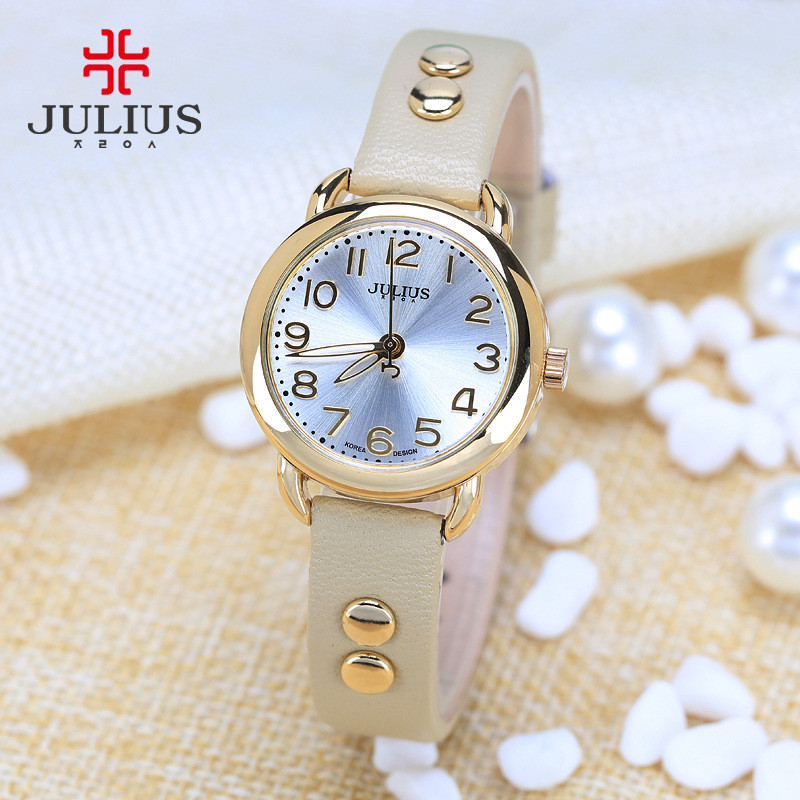 New Julius Women's Watch Japan Quartz Hours Cute Rivet Fine Fashion Dress Leather Bracelet Girl Retro Birthday Gift  933 new simple cutting glass women s watch japan quartz hours fashion dress stainless steel bracelet birthday girl gift julius box