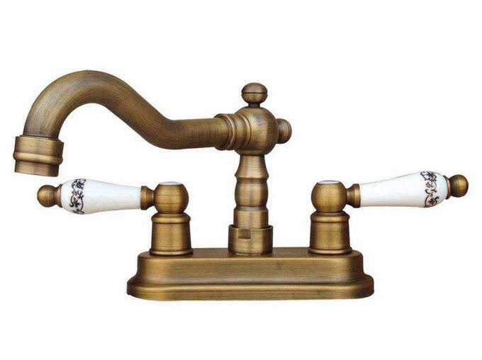 "Cheap Bathroom Faucets Single Handle Silver Brass Vessel: Antique Brass 4"" Centerset Bathroom Two Holes Basin Faucet"