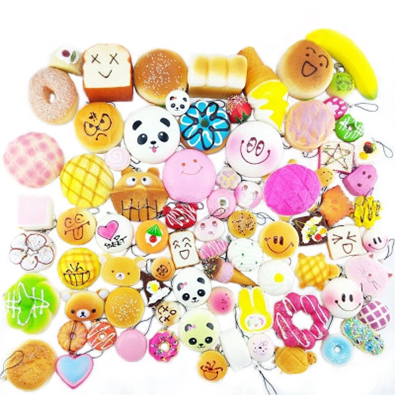 Squeeze Toys 10PCS\20PCS\30PCS Soft Squishy Toys,Cute Phone Charms,Kawaii Bag Pendants Stress Relief Toy For Kids And Adults