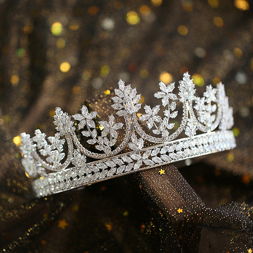 Full Zircon Large Tiara Copper Zircon Tiaras Micro Pave CZ Bride Crown Wedding Hair Jewelry Diadem
