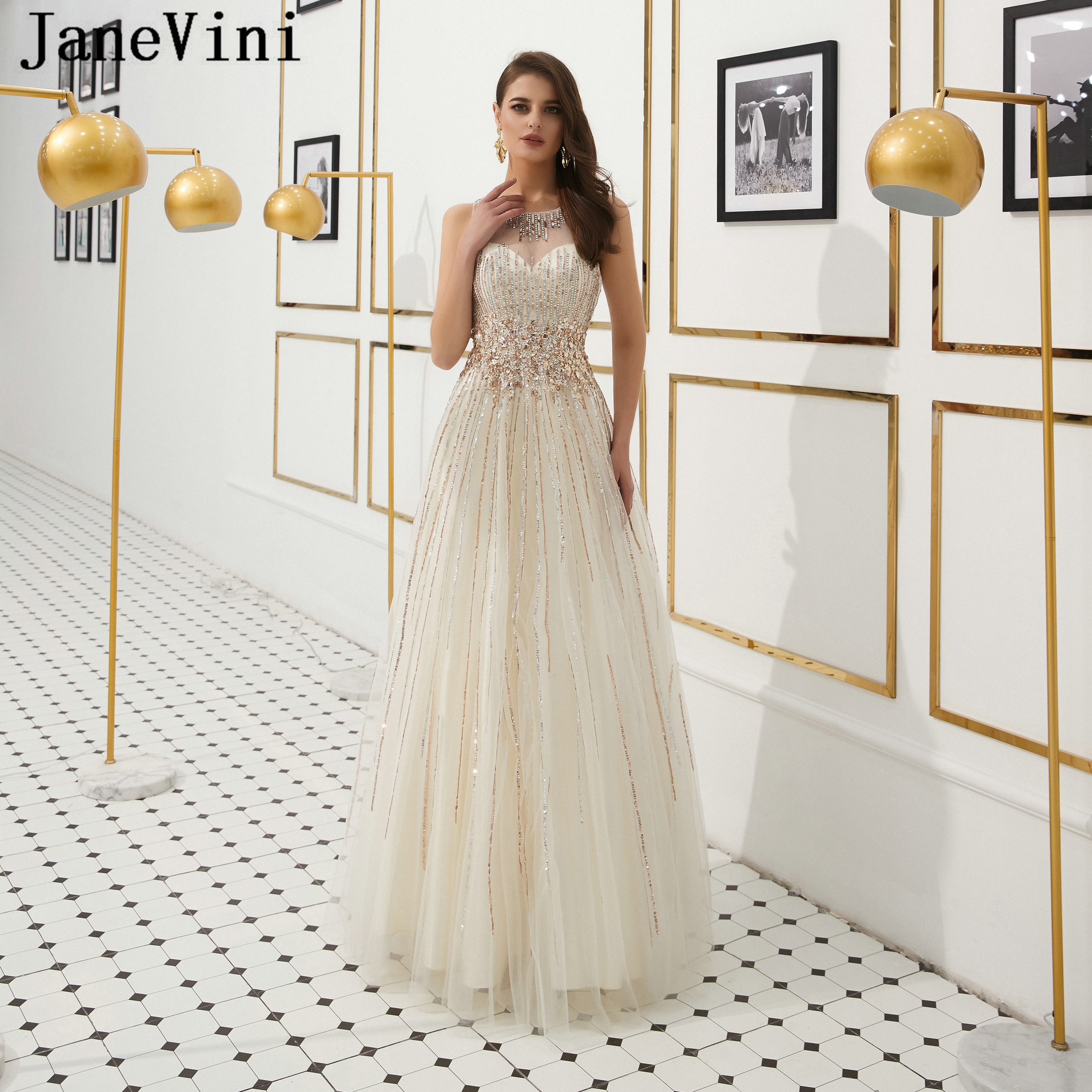 JaneVini Sparkling Sequins A Line Long   Prom     Dresses   2019 O Neck Luxury Heavy Beaded Arabic Tulle Evening Party Gowns Ballkleider