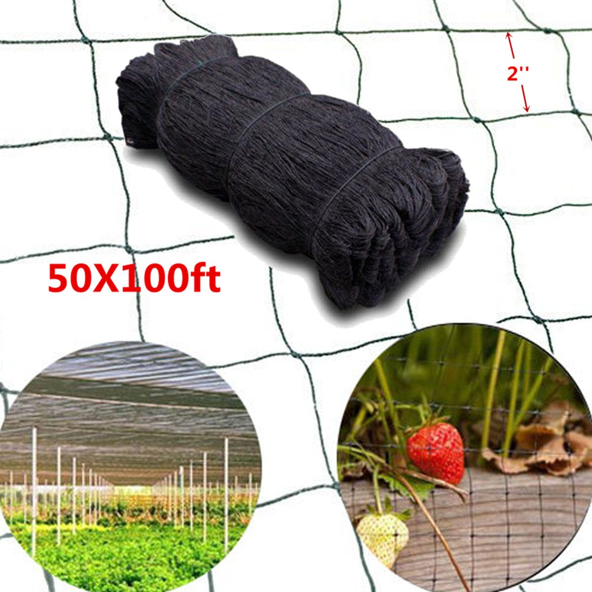 15*30M Anti Bird Net Protect Planter Mesh 100'X50' Mosquito Bug Insect Net Hunting Barrier Garden Fish Netting 2 Mesh Hole