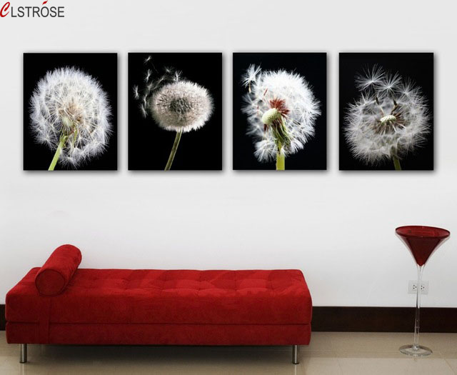 Clstrose 4 pieces canvas wall art modern dandelion flower painting clstrose 4 pieces canvas wall art modern dandelion flower painting black and white background painting on canvas home decoration in painting calligraphy mightylinksfo