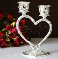 Free Shipping Silver Plated Heart Candle Holder Wedding Decoration Party Favors Set Of 4