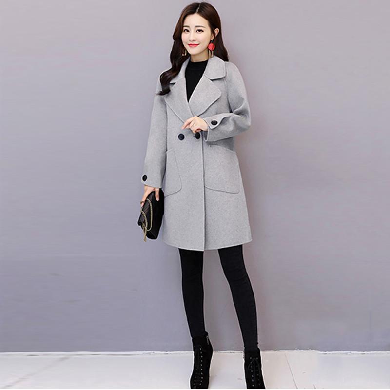 2019 gray Solide Pardessus qian Outwear V509 Tuo mi Laine Femmes Épaississent Se Pinck Hiver Automne Se Veste Mélanges Manteaux Chaud De Ka Mince Femme Occasionnel Dames CdBoex